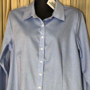 NWT Large Ellen Tracy Button Down Blue